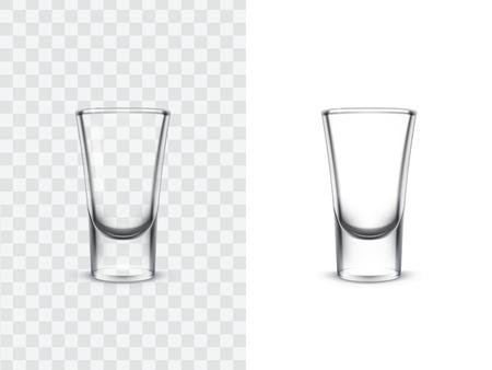 Verres à liqueur réalistes pour les boissons alcoolisées, illustration vectorielle isolée sur fond blanc et transparent. Maquette, modèle de coups d'alcool puissants, tels que la vodka, la tequila