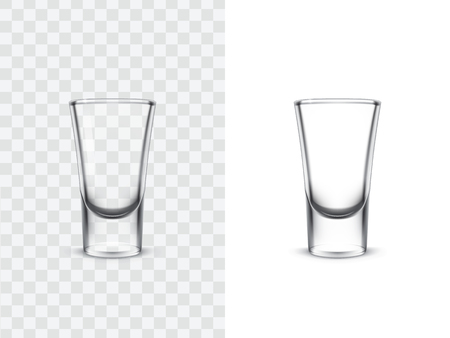 Realistic shot glasses for alcoholic drinks, vector illustration isolated on white and transparent background. Mock up, template of strong alcohol shots, such as vodka, tequila Vettoriali
