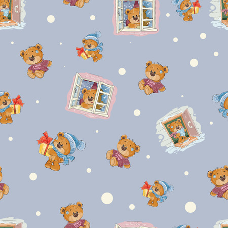 Seamless pattern with a cute lonely brown teddy bear bored and waiting for someone, I miss you, vector cartoon illustration. Wallpaper print, template for childrens textiles, wrapping paper