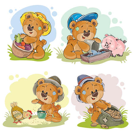 Brown teddy bear farmer, vector cartoon illustration isolated on white background. Toy bear is engaged in agriculture, is growing vegetables and breeding chickens and pigs
