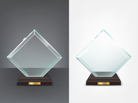 Realistic square glass trophy, sport and business award, prize to the winner of the competition, winning cup, vector isolated illustration, front view