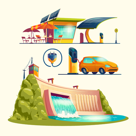 Alternative energy sources, set of vector cartoon illustrations isolated on white background. Cafe with solar panels, electric car is charging at charging station, hydroelectric power plant with dam