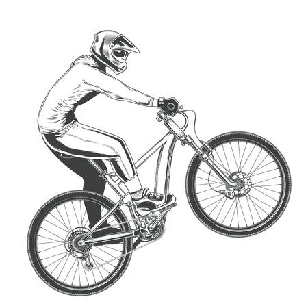 Berijd op een sportenfiets, BMX-fietser die een truc, de bergfietsconcurrentie, zwarte vectordieillustratie uitvoeren op een witte achtergrond wordt geïsoleerd