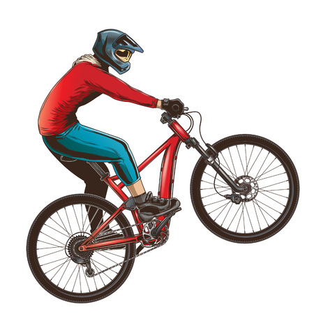Ride on a sports bicycle, BMX cyclist performing a trick. Mountain bike competition, color vector illustration isolated on a white background.