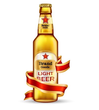 Brand labeled light brown glass bottle with light beer and red ribbon, realistic vector isolated on white background. Template for classic craft beer ad, package design mock up