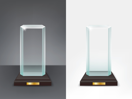 Realistic glass trophy, sport and business award, prize to the winner of the competition, winning cup, vector isolated illustration, front view Ilustracja