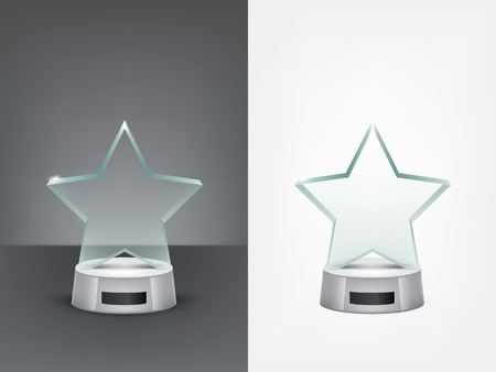 Realistic glass star trophy, sport and business award, prize to the winner of the competition, winning cup, vector isolated illustration, front view