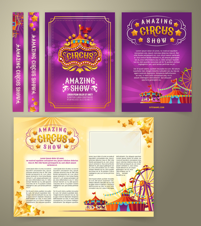 Vector circus flyer, cartoon banner, purple background with vintage emblem of the cirque and space for your text. Poster for advertising an amazing circus show, invitation, admission ticket Фото со стока - 91194969