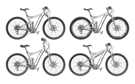 Sports bicycles, BMX, motocross and mountain bikes for competition, set of black vector illustrations isolated on a white background Çizim