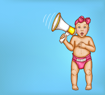 Comic baby girl with loudspeaker, in pink diaper, butterfly bow on head, pop art vector illustration isolated on blue background. Announce of discounts, sales, special offer in shop of childrens goods
