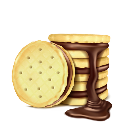 Several sandwich cookies with chocolate filling and pouring melted chocolate, realistic vector illustration isolated on white background. Sweet crispy cookies with chocolate cream, design element 일러스트