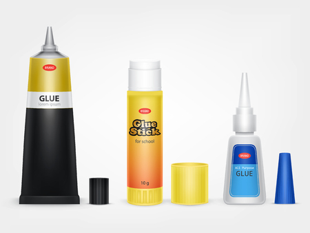 Colorful tubes of glue stick, super and moment glue with open lid and brand information realistic vector isolated on white background. Different original containers of glue for instant gluing