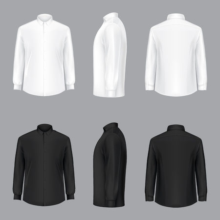 White and black male shirt with long sleeves and buttons in front, back and side view, isolated on a gray background. 3D realistic vector illustration, template formal or casual shirt Çizim