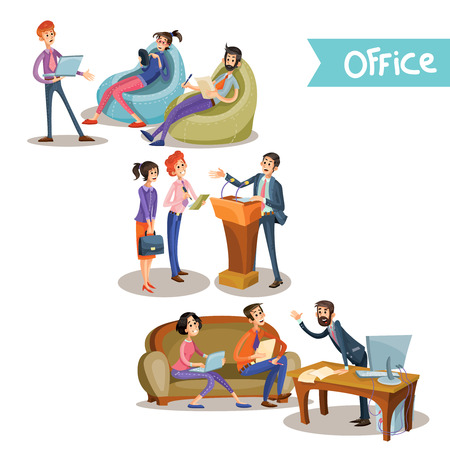 Set of vector illustrations of a leader with subordinate office workers holding negotiations behind the tribune, at the table and sitting on the couch, isolated on white background in cartoon style.