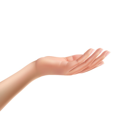 Facing up womans hand realistic vector illustration isolated on white background.  Female open palm up in getting or receiving something gesture, holding, showing, presenting product business concept
