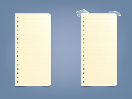 Sheet, page in a striped notebook, notepad in a realistic style, isolated on a blue background. White paper ready for message, set of vector illustrations.