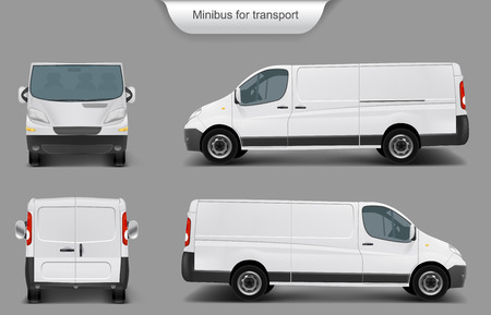 Vector realistic white delivery minivan, city minibus front, back, side view, with shadow, isolated on gray background. Template, mock up of a minivan for brand design, corporate transport