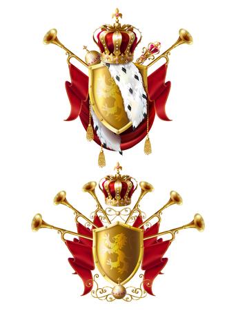 Królewskie złote korony z klejnotów, fanfares, berło, kula i herb z czerwonego aksamitu i gronostajem futra, ustawić wektor realistyczne ikony na białym tle. Elementy heraldyczne, symbole monarchiczne Zdjęcie Seryjne