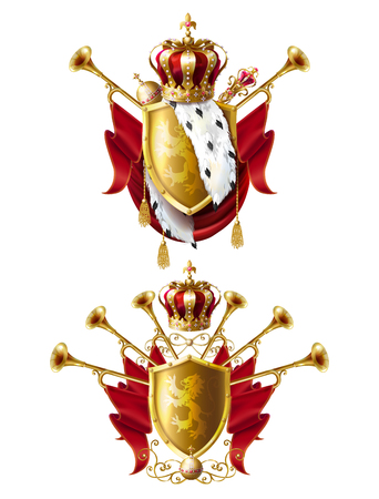 Royal golden crowns with jewels, fanfares, scepter, orb and coat of arms with red velvet and ermine fur, set vector realistic icons isolated on white background. Heraldic elements, monarchic symbols