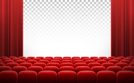 Weißer transparenter Kinofilmschirm mit roten Vorhängen und Reihen von Stühlen, realistische Vektorillustration, Hintergrund. Konzeptfilmpremiere, Plakat mit Innenraum des Kinos und Raum für Text Standard-Bild
