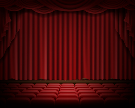 Open red stage curtain realistic vector illustration. Grand opening concept, performance or event premiere poster, announcement banner template with theater stage