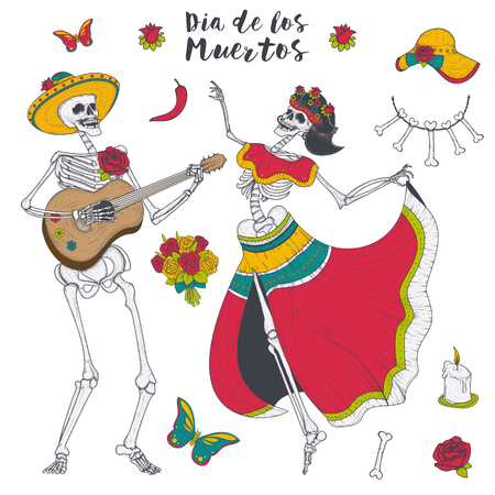Male and female skeleton in yellow sombrero and Mexican national clothes. Vector Illustration