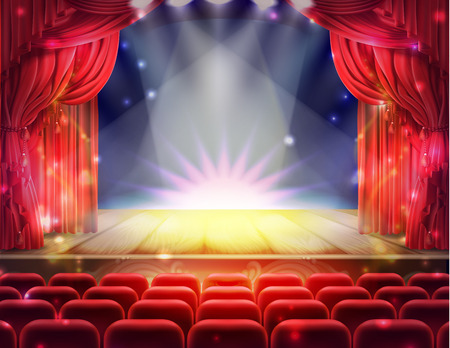 Open red curtain and empty illuminated theatrical stage with falling sparks, confetti realistic illustration. Illustration