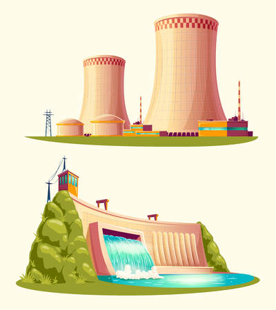 Alternative energy sources, concept of environmental protection. Vettoriali