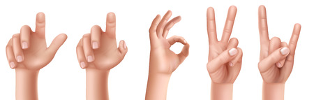 Set of vector illustrations of male or female hand gestures with a raised finger up, an ok sign, victory, a goat isolated on a white background.