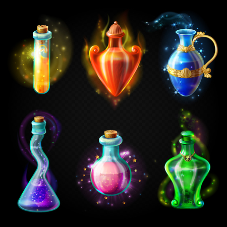 Glass bottles with a magical potion, sealed jars of different shape with sparkling multi-colored elixir, isolated on a black background. Vector game icons, elements for game design Vettoriali