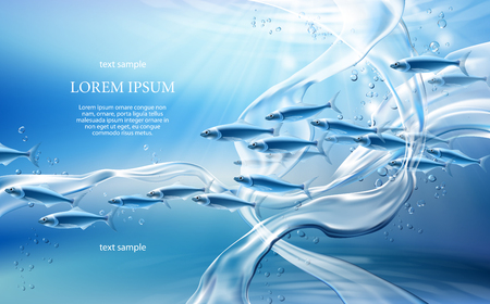 Realistic pure water streams on light blue background with translucent fishes, swirl splashes and drops. Underwater world concept 3D vector illustration