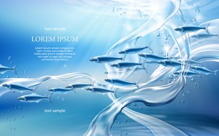 Realistische zuivere waterstromen op lichtblauwe achtergrond met doorzichtige vissen, wervelende spatten en druppels. Onderwater wereld concept 3D-vector illustratie