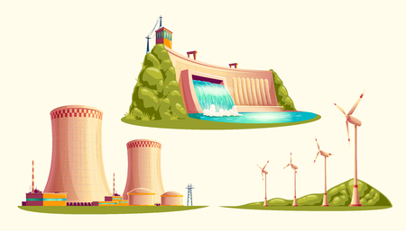 Alternative energy sources, concept of environmental protection, set of vector cartoon isolated on white background. Hydroelectric power plant with dam, wind turbines and nuclear power station Vettoriali