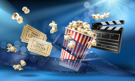 Cinema blue background with 3d realistic objects popcorn, tape, tickets and clapperboard. Vector concept colorful illustration with elements of film industry. Template for ad, poster, presentation