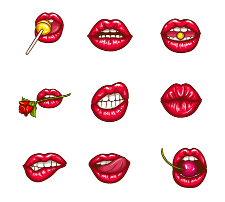 Set of red female lips icon.