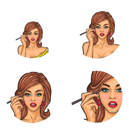 Set of girls putting eye liner icon. Illustration