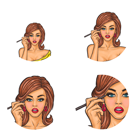 Set of girls putting eye liner icon. Çizim
