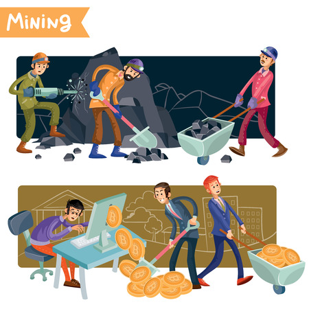 Bitcoin mining concept vector illustration. Miners extract ore in mountains. Businessmen get a cryptocurrency online using computer and collect virtual gold coins. Colorful banners for creative design