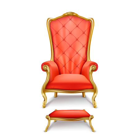 Vector luxurious red throne chair with carved golden legs and small stool for feet isolated on white background. Gilded antique armchair in realistic style. Objects of expensive, exclusive furniture