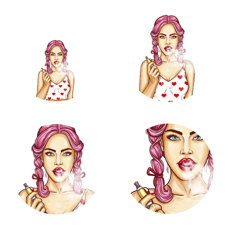 Vector set of round female avatars for users of social network, profile icons. Pop art vaping girl with red glossy lips and pink hair holds vaporizer in one hand, smokes e-cigarette, exhaling a vapor