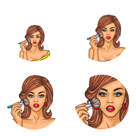 Set of vector pop art round avatar icons for users social networking, blogs, profile icons. Young sexy fashionable girl uses brush and applies loose mineral powder or blush on her face, puts on makeup