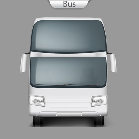 Realistic vector white  bus mockup front view. High-detailed passenger transport, travel vehicle. Blank city bus template for branding, advertising design. Illustration, easy to edit.
