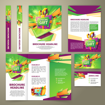 Vector flyer for sales promotion, banner, presentation brochure, magazine page, loyalty card, in cartoon style with gift box, green and purple elements. Advertising template for sales incentive. Vectores