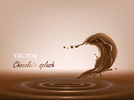 3D vector illustration of melted, liquid chocolate splash in a realistic style. Template for package desing, promotion flyer, poster, banner. Mockup for your product
