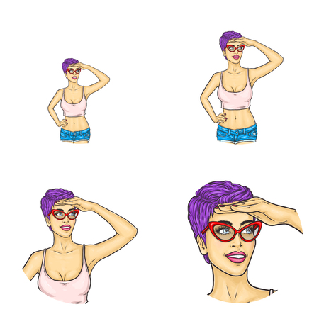Set of vector pop art round avatar icons for users of social networking, blogs, profile icons isolated. Purple short hair girl in glasses summer clothing waiting, covering face from bright sun by hand Illustration