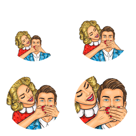 Set of vector pop art round avatar icons for users of social networking, blogs, profile icons. Brunette man and woman standing behind him and covering his mouth with her hands, do not say anything.