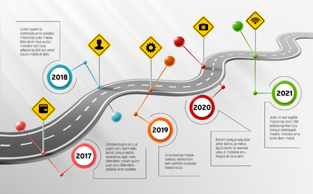 Vector company corporate milestone, history timeline, business presentation layout, infographic strategic plan workflow, grey background. Car curved road with years, marks, info icon, concept template Illustration