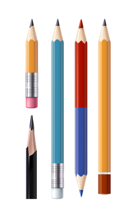 Set of illustrations in a realistic style sharpened pencils of various types and lengths, with an eraser and without it, isolated on white. Print, template, design element