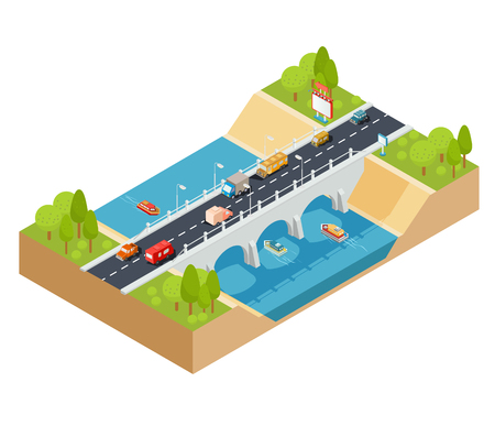 3D isometric illustration of cross section of a landscape with a flowing river and automobile bridge through it with moving transport.