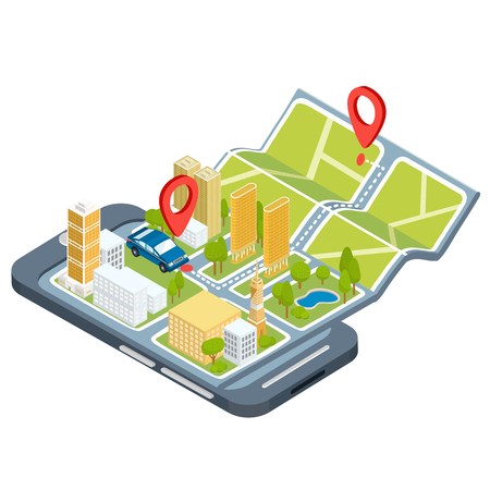 illustration of the concept using the mobile application of the global positioning system. Image of a smartphone with a paper map unfolded from it with location symbols, 3D houses, cars, trees